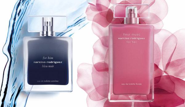 Narciso Rodriguez For Him Bleu Noir Eau De Toilette Extreme e For Her Narciso Rodriguez Fleur Musc Eau De Toilette Florale- coloniaeperfume